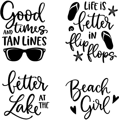 Summer lettering set. Black hand lettered quotes with shells, flip flops and sunglasses. For greeting cards, t-shirts. Typography collection. Vacation, beach and sea concept. Isolated vectors.