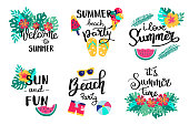 Summer lettering. Set hand drawn icons, signs and banners. Bright summertime poster. Collection Summer hand drawn elements for summer holiday and party. Summer Typographic. Vector illustration.
