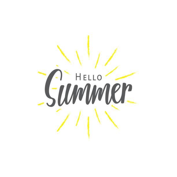 ilustraciones, imágenes clip art, dibujos animados e iconos de stock de verano (hola) rotulación diseño de vector de tipografía sobre fondo blanco. concepto de diseño de letras. - verano
