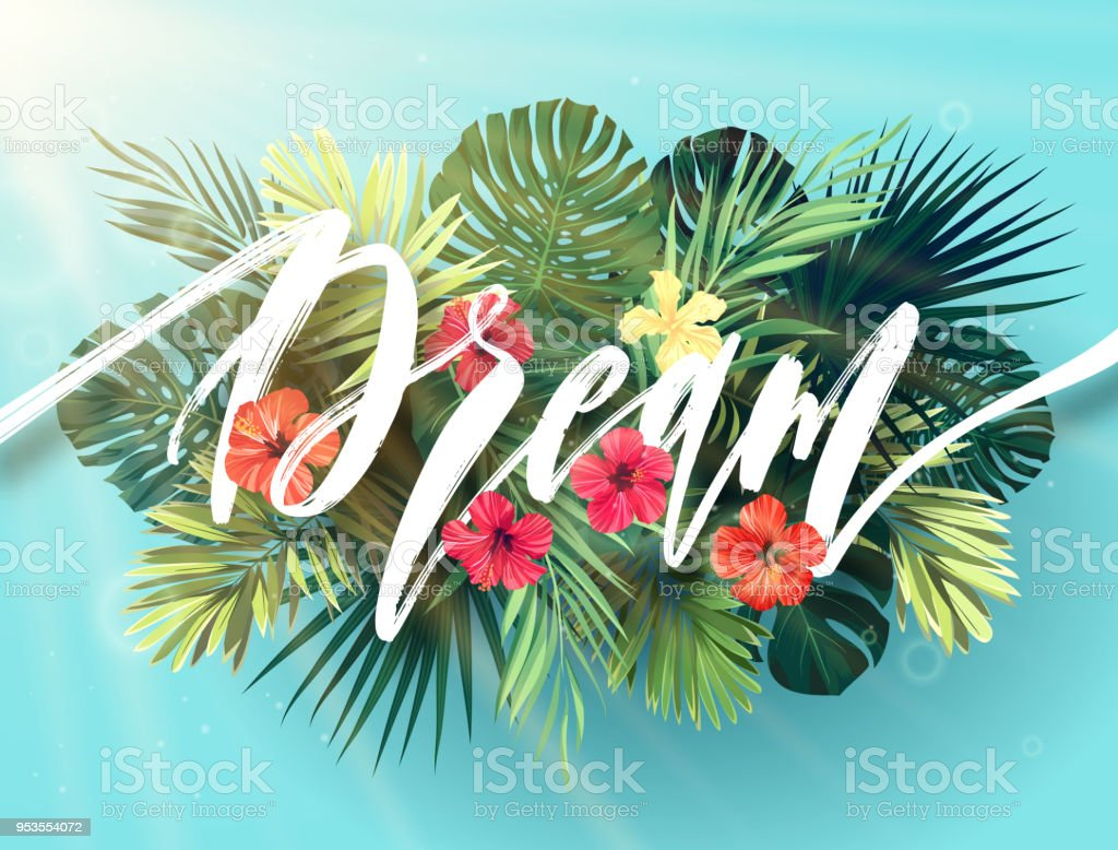 Summer lettering with green palm leaves and bright hibiscus flowers on a sky blue background. Modern botanical typography design. Vector illustration