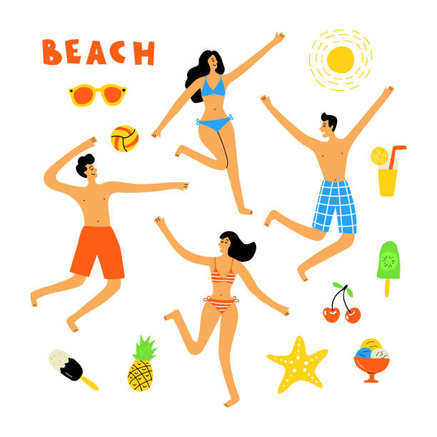 Drawing Of The Crowded Beach Illustrations, Royalty-Free ...