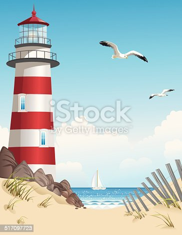 Lighthouse and sailboat in summer