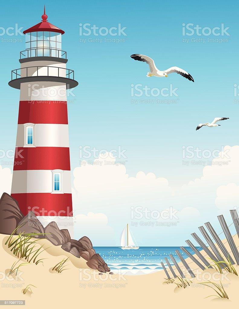 Summer Lighthouse vector art illustration