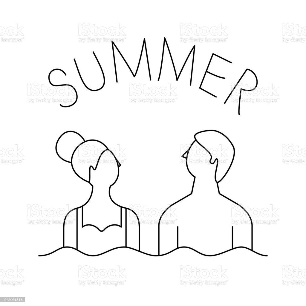 Sommerlinekunstlogo Paar Am Strand Vektorillustration Urlaub Stock ...