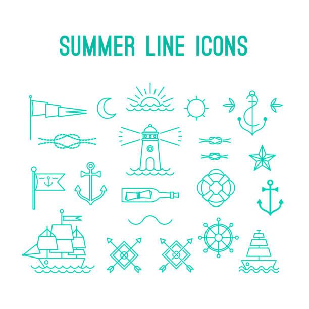 Ligne d'été icône de la série. Éléments de design nautique dans rétro tatouage - Illustration vectorielle