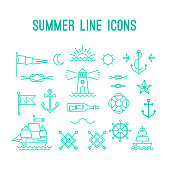 Summer line icon set. Nautical design elements in retro tattoo