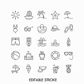 Set of summer vacation, travel or tourism outline icons.