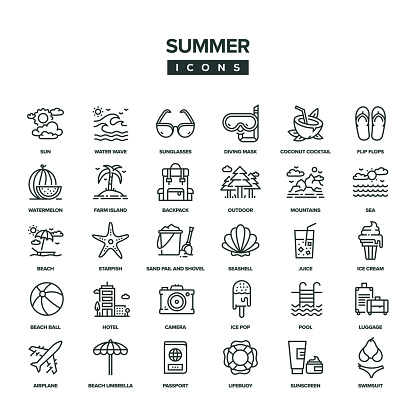 Summer Line Icon Set