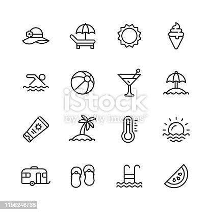 istock Summer Line Icons. Editable Stroke. Pixel Perfect. For Mobile and Web. Contains such icons as Summer, Beach, Party, Sunbed, Sun, Swimming, Travel, Watermelon, Cocktail. 1158246738
