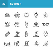 istock Summer Line Icons. Editable Stroke. Pixel Perfect. For Mobile and Web. Contains such icons as Summer, Beach, Party, Sunbed, Sun, Swimming, Travel, Watermelon, Cocktail, Beach Ball, Cruise, Palm Tree. 1158832101