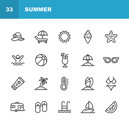 Summer Line Icons. Editable Stroke. Pixel Perfect. For Mobile and Web. Contains such icons as Summer, Beach, Party, Sunbed, Sun, Swimming, Travel, Watermelon, Cocktail, Beach Ball, Cruise, Palm Tree.