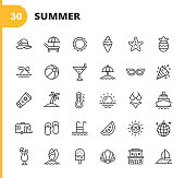 istock Summer Line Icons. Editable Stroke. Pixel Perfect. For Mobile and Web. Contains such icons as Summer, Beach, Party, Sunbed, Sun, Swimming, Travel, Watermelon, Cocktail, Beach Ball, Cruise, Palm Tree. 1192922883