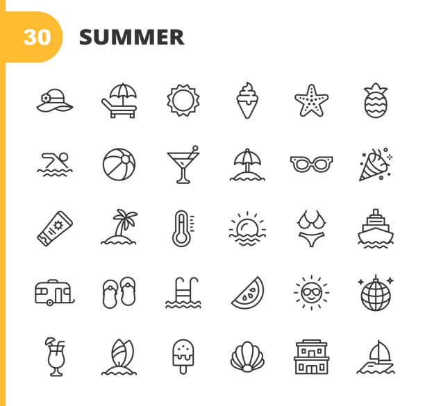Summer Line Icons. Editable Stroke. Pixel Perfect. For Mobile and Web. Contains such icons as Summer, Beach, Party, Sunbed, Sun, Swimming, Travel, Watermelon, Cocktail, Beach Ball, Cruise, Palm Tree. 30 Summer Outline Icons. beach icons stock illustrations