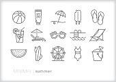 Set of 15 summer line icons of beach vacation, swimsuit, lemonade, ferris wheel, sunglasses, beach ball, sunscreen, beach chair and watermelon