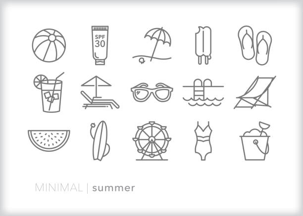 Summer line icons for vacation at the beach and enjoying warm weather Set of 15 summer line icons of beach vacation, swimsuit, lemonade, ferris wheel, sunglasses, beach ball, sunscreen, beach chair and watermelon outdoor chair stock illustrations
