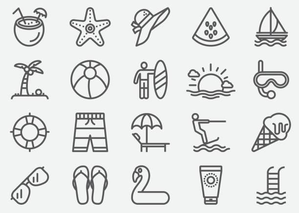 Summer Line Icons Summer Line Icons beach icons stock illustrations