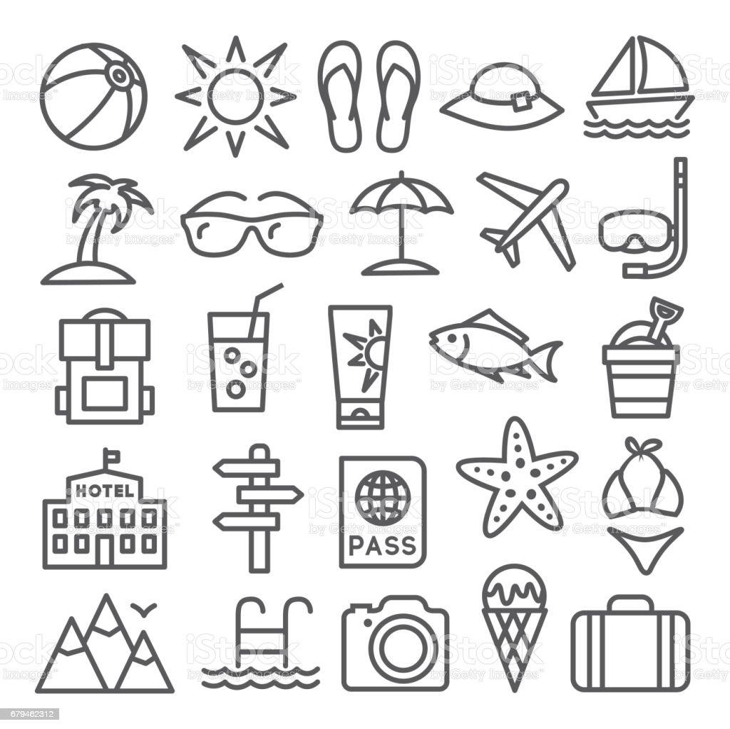 Sommer-Line-Symbole – Vektorgrafik