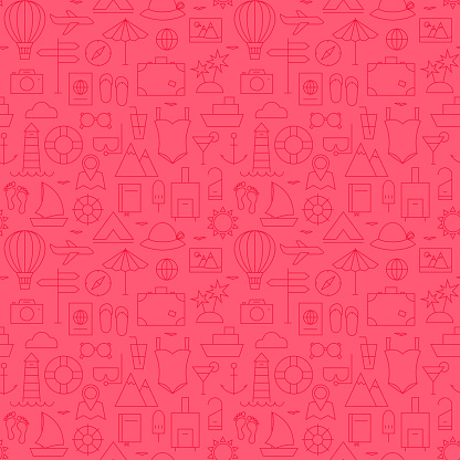 Summer Line Travel and Resort Pink Seamless Pattern