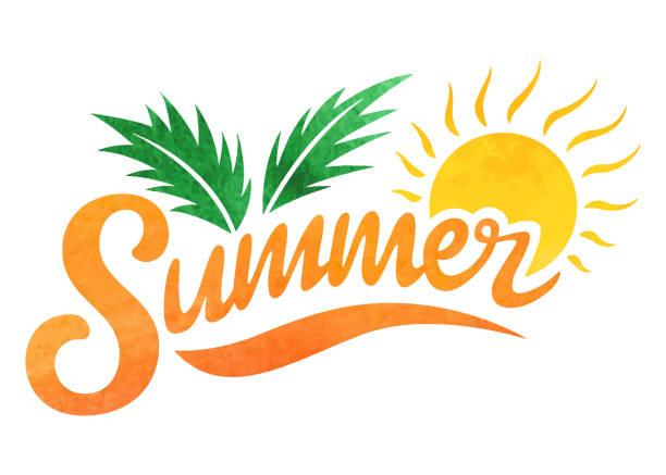 ilustraciones, imágenes clip art, dibujos animados e iconos de stock de logotipo de verano. composición de letras de pincel. - verano