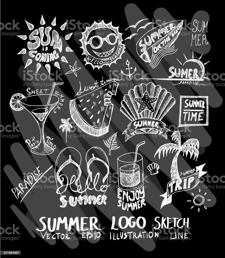Vetores De Logo Verao Doodle Ilustracao Papel De Parede Fundo