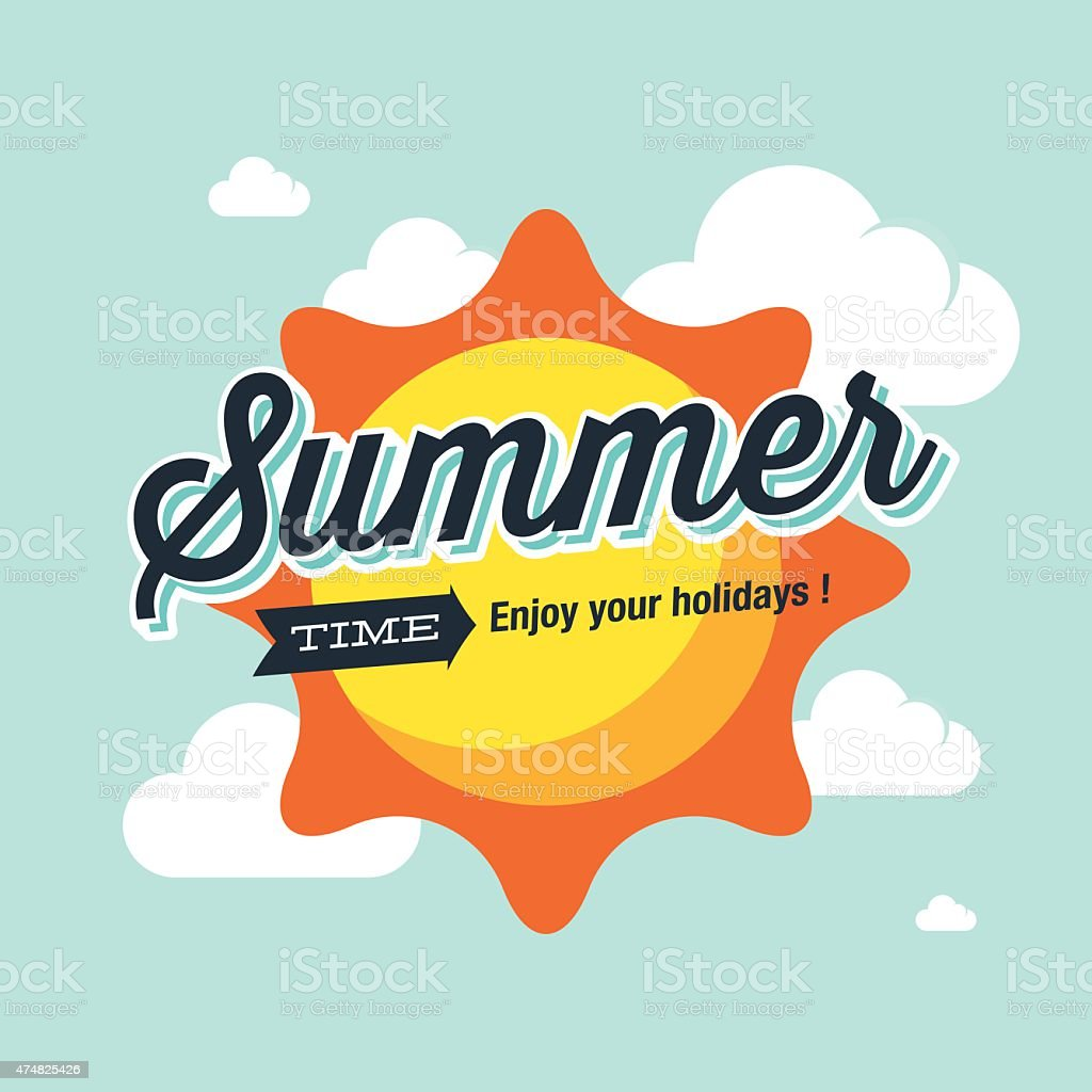 Summer logo vector illustration. Summer time, enjoy your holidays. vector art illustration