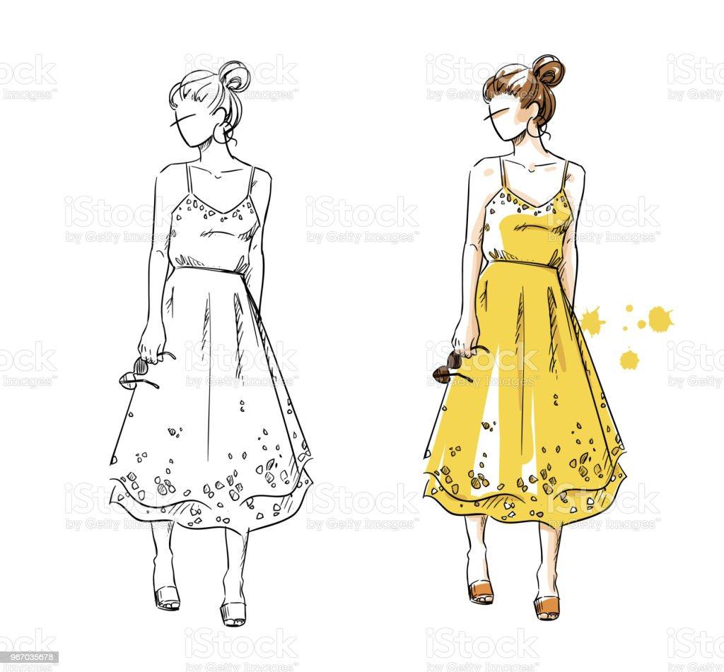夏なら黄色いドレスの女の子ファッション イラストベクトル 1人の