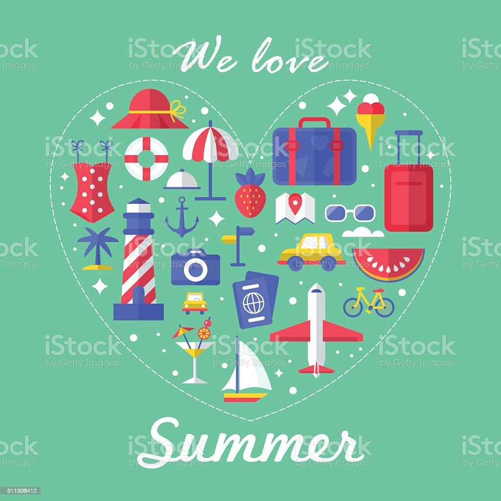 Lieblingsstück für den Sommer Poster Gestaltung mit flachen modernen Symbole – Vektorgrafik
