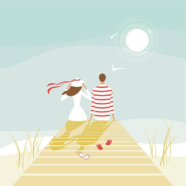 Summer lovers on a wharf vector art illustration