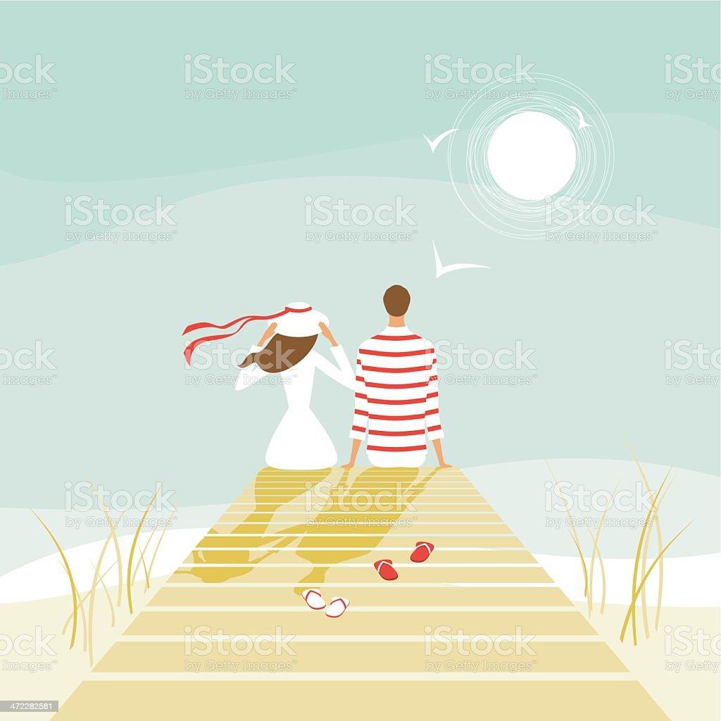 Os amantes de verão em wharf - ilustração de arte em vetor