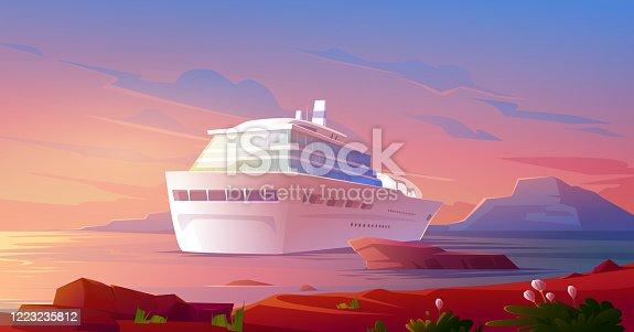 istock Summer luxury vacation on cruise ship at sunset 1223235812