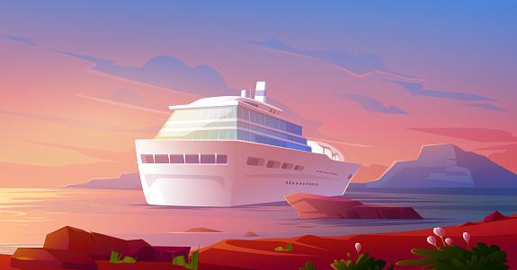 Summer luxury vacation on cruise ship at sunset