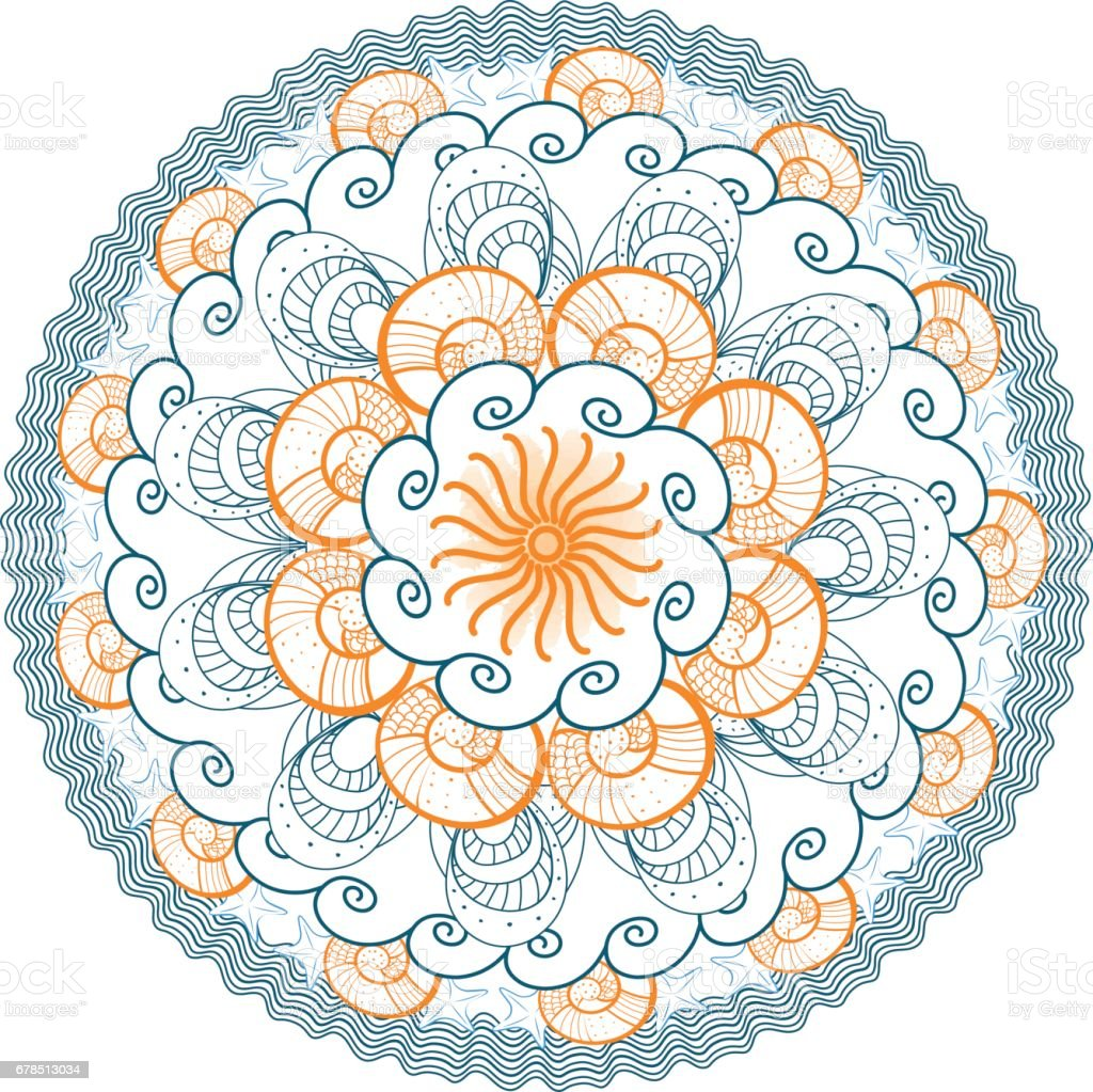 summer mandala vector illustration with orange blue azure