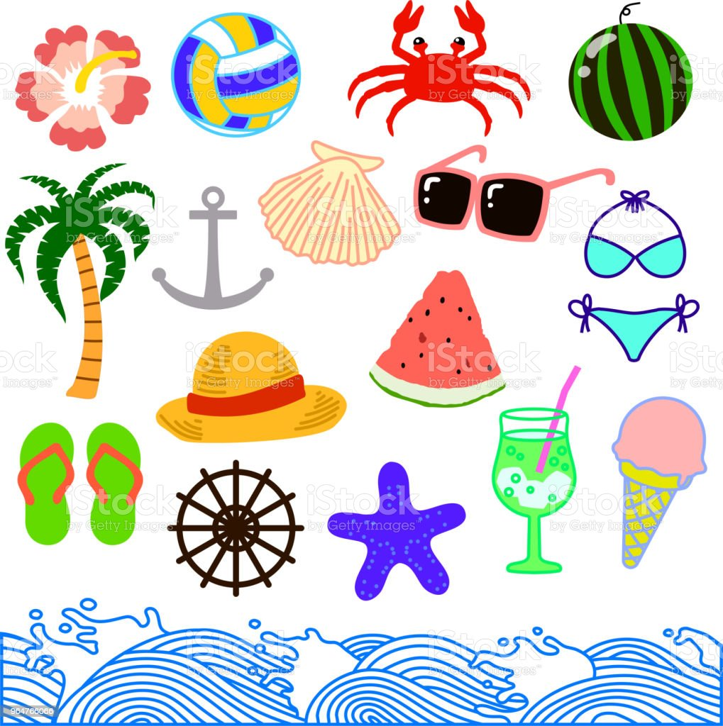 Summer material set 2 royalty-free summer material set 2 stock vector art & more images of anchor - athlete