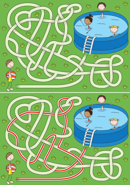 Labirinto de verão - ilustração de arte em vetor
