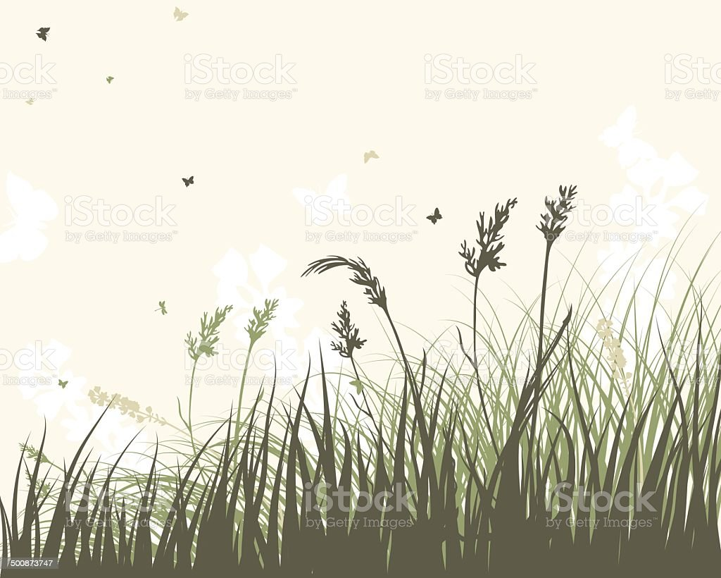 Summer meadow vector art illustration