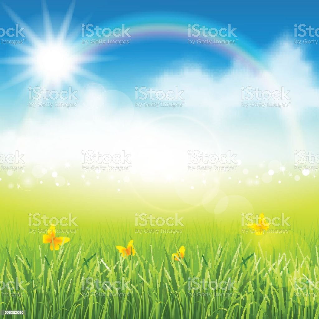 Summer meadow with grass vector art illustration