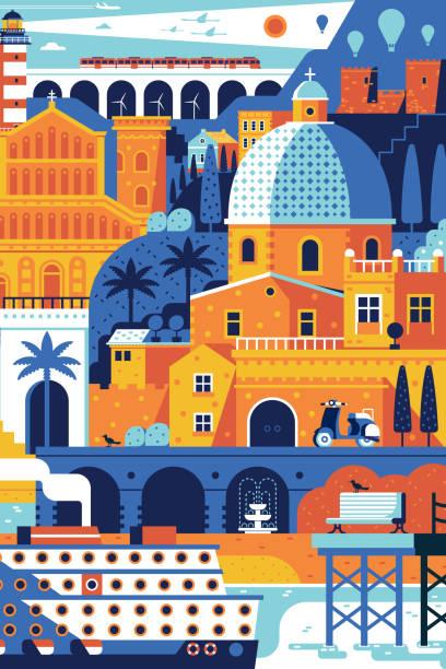 illustrazioni stock, clip art, cartoni animati e icone di tendenza di poster di viaggio mediterraneo estivo - sardegna