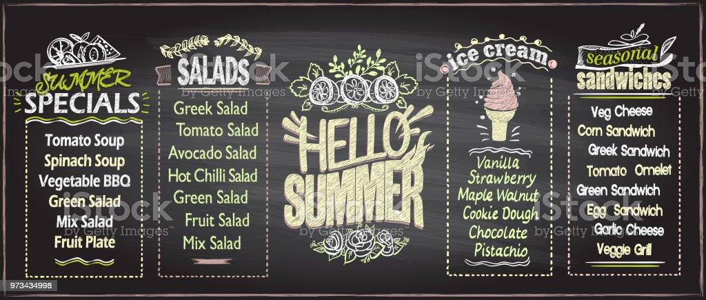 summer menu chalkboard design concept stock vector art more images