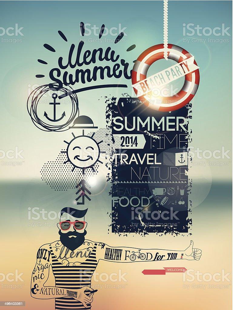 Sommer-Speisekarte.  Typografie Hintergrund – Vektorgrafik