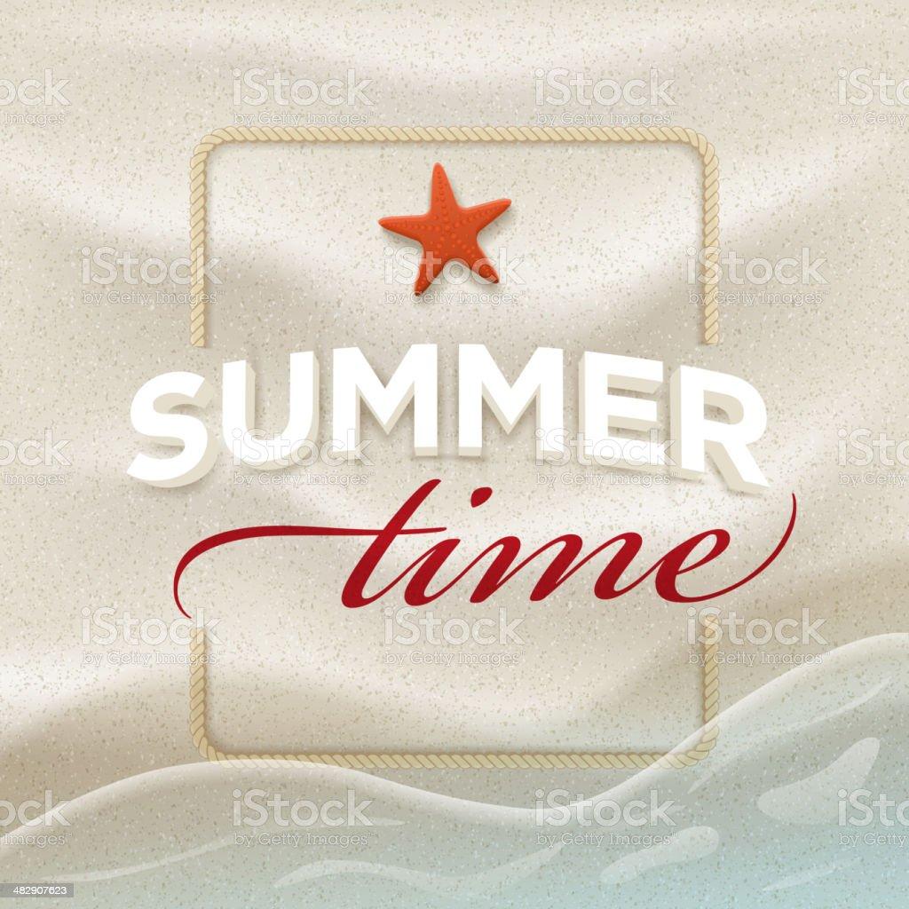 Summer message on beach sand vector art illustration