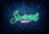 Summer. Modern design layout with neon lettering and tropic jungle leaves. Summer exotic background.
