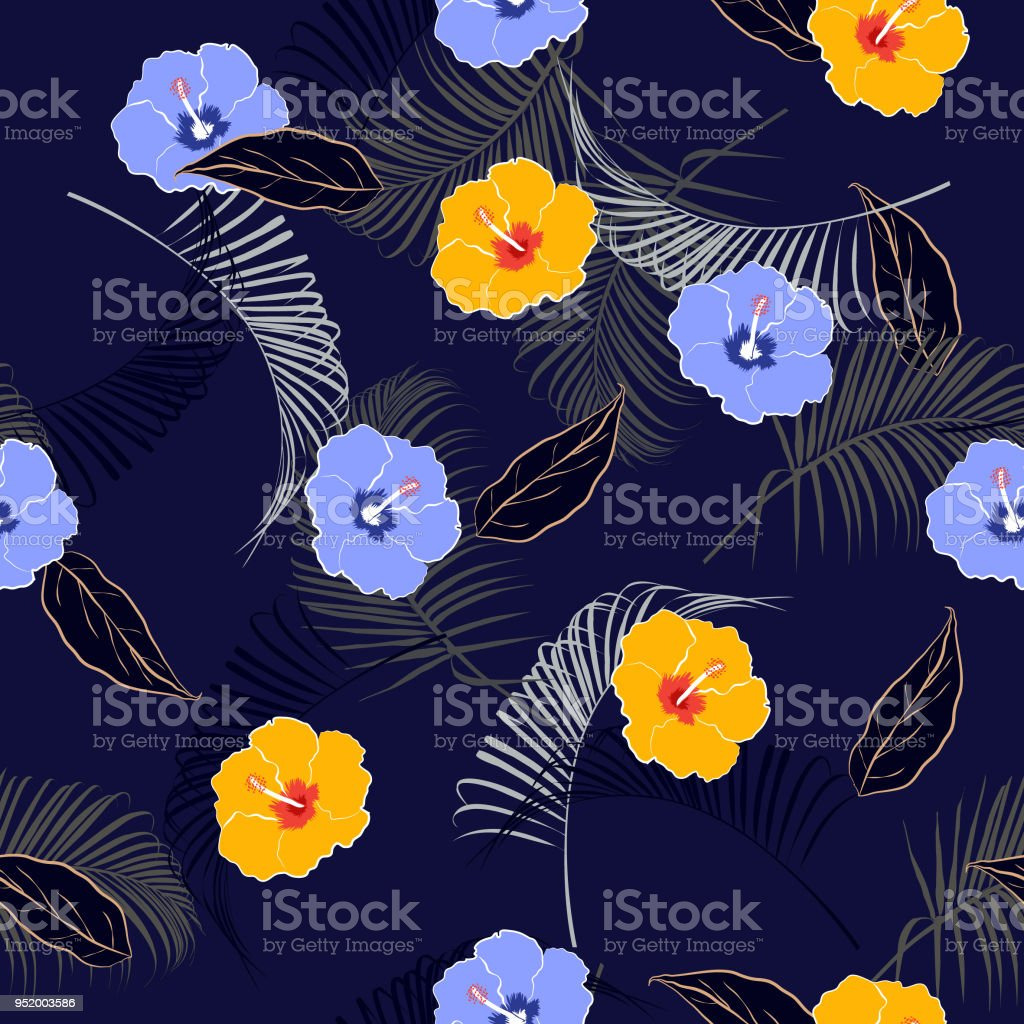Summer Mood Seamless Vector Floral Patterndark On Navy Blue