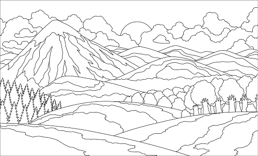 Summer mountain landscape coloring book. Valley vector illustration