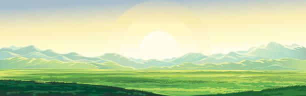 Summer mountain landscape vector art illustration