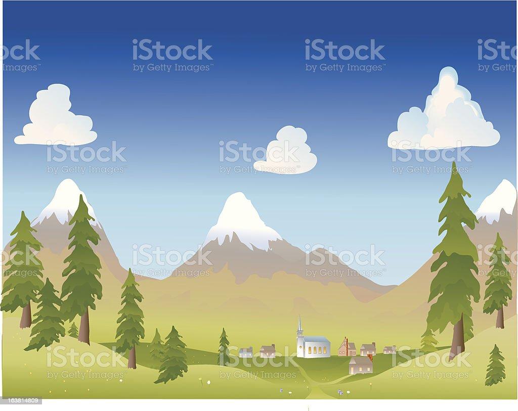 summer mountain village royalty-free stock vector art