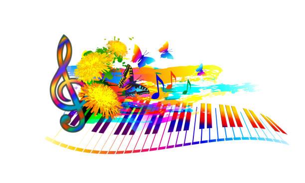 summer music festival hintergrund - musiksymbole stock-grafiken, -clipart, -cartoons und -symbole