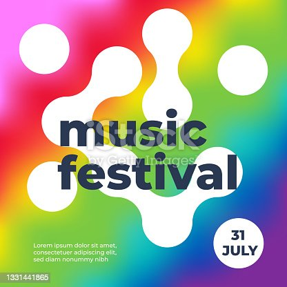 istock Summer music festival poster. Abstract multicolor tie dye background. Rainbow colors. Square format. Vector illustration, flat design 1331441865