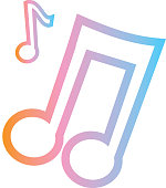 Summer music notes party Flat Simple outline Design Icon