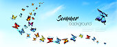 Summer nature background with a colorful butterflies and blue sky with clouds. Vector