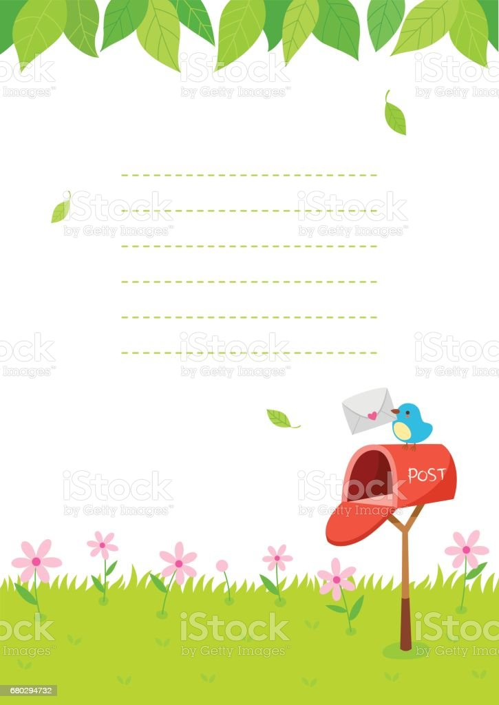Summer nature background with mailbox and bird